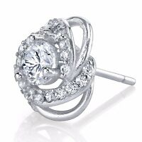 Fancy Formal Evening Wear Sterling Silver Stud Earrings with Cubic Zirconias