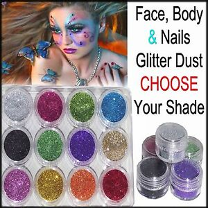 Face Body Nail & Eyeshadow Loose Glitter Dust Pots All Colours CHOOSE Your Shade
