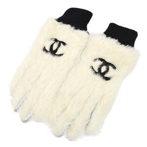 CHANEL CC Logos Gloves White Silver Fur Leather France #7 Authentic AK31745d