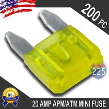 200 Pack 20A Mini Blade Style Fuses APM/ATM 32V Short Circuit Protection Fuse US