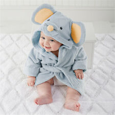 Cute mice Baby boy Dressing Gown Splash Wrap Bath Hooded Towel Robe 0-18M