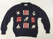 Vintage Women Benetton Sweater Nautical Italy Navy Jumper Chunky Cable Knit