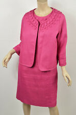 TALBOTS Pink Woven Textured Linen Button Detail Jacket & Sheath Dress Suit M 10