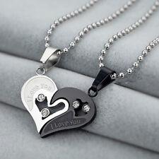 Sein und ihr Edelstein I Liebe Sie Liebes-Herz-Paar-hängende Halskette