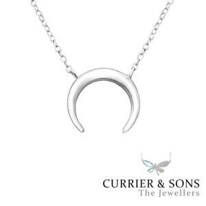 925 Sterling Silver Crescent Moon Pendant Necklace Design 5 (45cm / 18 inch)