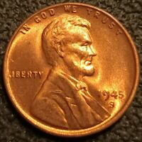 1945 S Lincoln Cent Wheat Penny 1c GEM BU+ Uncirculated Coin P2206