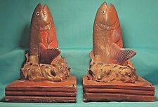 """Vintage WOODEN BOOKENDS """"FISH Jumping out of the Water"""" from The Philippines"""