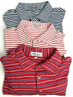Lot of 3 Peter Millar Men's Summer Comfort Striped Polo Shirts Size Large