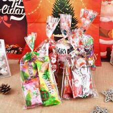 50pcs Christmas Cellophane Bags Snowflake Santa Claus Treat Bags Clear Candy Bag
