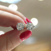 2 CARAT ROUND CUT DIAMOND 14K SOLID WHITE GOLD STUD POST SCREW BACK EARRINGS