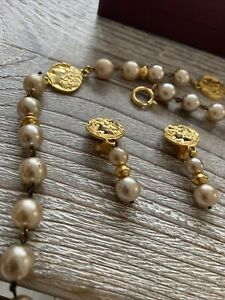Past Times Pearl and Peridot Necklace and Earrings  Set - Boxed