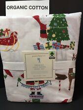 COTTON Pottery Barn Kids JOLLY SANTA TWIN SHEET Reindeer Christmas Bed NEW