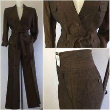 Tailleur e abiti sartoriali da donna marrone giacca di lino