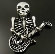 37120 Vintage Style Silver Tone Gothic Skull Playing Guitar Pendant Charm 10pcs