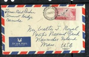BERMUDA COVER (PP0806B) 1957 QEII  8D BIRD A/M COVER SOMERSET BRIDGE TO USA
