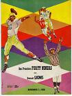 1958 NFL Football Program San Francisco 49ers vs Detroit Lions
