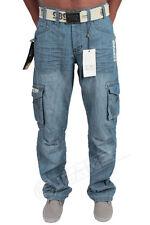 Brand New Mens Enzo 111 Straight Leg Jeans Blue Combat Jeans FREE BELT 30R