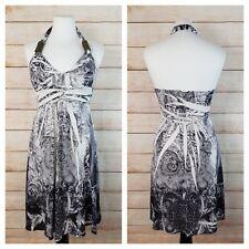 Cristina Love S Halter Empire Waist Babydoll Dress White Black Studs Sublimation