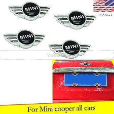 For Mini Cooper Black Mini Car License Plate Frame Bolts Screw Caps Cover 4x