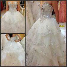 Luxury Crystal Applique Ball Wedding dress Sweet A-Line Lace Bridal Gown Custom