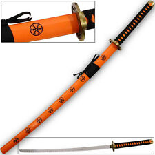 Supreme Kai Katana Japanese Tosho Sword Orange & Black Ornate CARBON STEEL