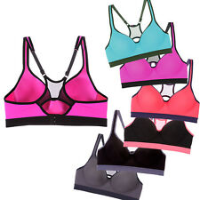 Padded Sports Bra Racerback Activewear Mesh Workout Top Performance Athletic Bus