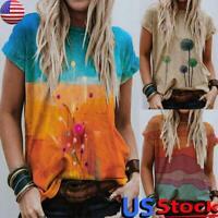 US Womens Short Sleeve T-Shirt Summer Printed Casual Tops Loose Basic Tee Blouse