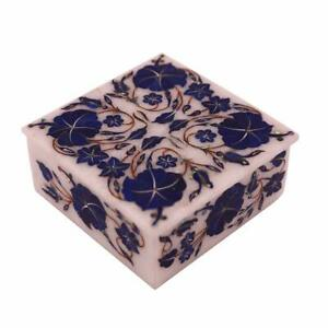 """4"""" Marble Jewelry Box Inlay semi precious stone Marquetry home room decor Gifts"""