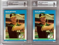 1987 - Fleer Glossy U-76 - Mark McGwire - Rookie - BGS Beckett 9 Mint - 2ct Lot