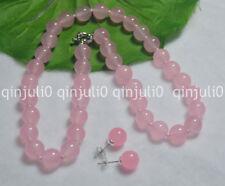 Natural 10mm Pink Jade Rose Quartz Gemstone Round Bead Necklace 18'' Earring Set