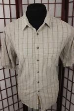 Fieldmaster Short Sleeve Linen Blend Shirt Sz XL Tan Light Brown Plaid Checkered