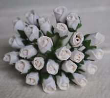 48 WHITE ROSE BUDS (L) Mulberry Paper Flowers wedding miniature