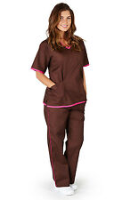 Medical Nursing Scrubs NATURAL UNIFORMS Contrast Trim Sets XS S M L XL 2XL 3XL