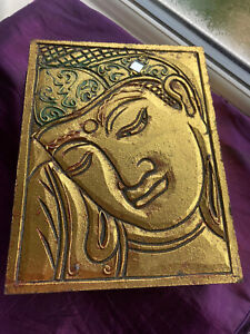 Indian Design Gold Wooden Hinged Box