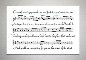 The Script - The Man Who Can't Be Moved - Song Sheet Print Poster Art