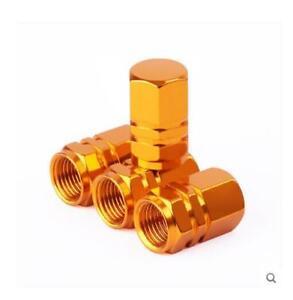 Gold luminium Car Tire Valves Decorate Covers 4PCS Auto Accessories Trim 05 J