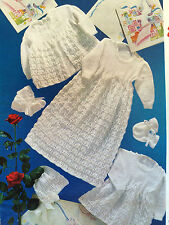 Baby Knitting Pattern CHRISTENING Gown Jacket Dress Bonnet Bootees  in 3 Ply