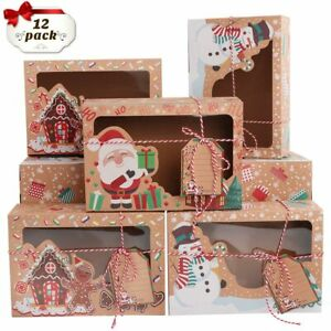 12 Christmas Candy Cookie Gift Boxes Cupcake Dessert Box with Window & DIY Tag
