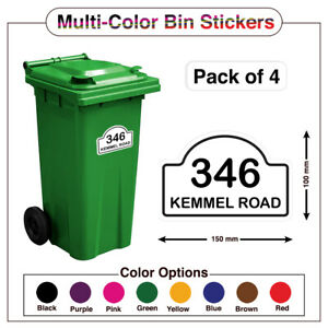 4x Wheelie Bin Number Custom House &Street Name Sticker Peel & Stick A5/A6 PBN07