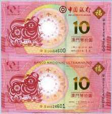 Macau Set 2 Pcs 10 Patacas 2021 Ox Year BNU & BOC UNC NR