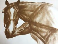 Merry Kelly Stevens 1974 Signed Print 2 Horses Blaze Mare Foal Thoroughbred