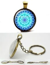 Chakra Mandala - Blue - Vintage Antique Bronze Tone Photo Glass Dome Keyring