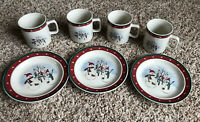 Lot of 4 Royal Seasons Stoneware Snowman  Mugs/Cups and 3 Saucer/Bread Plates