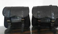 Motorcycle Side Black Saddlebag Pouch Black Leather 2 Side Pouch Saddle Panniers