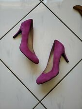 Nine West Luciuso Heels Suede Leather Pink Magenta Pumps Shoe Round Toe Size 9 M
