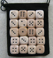 14mm Lot of 100 Wooden Dice with 1x Bag (set, 14mm d6, pips, wood)