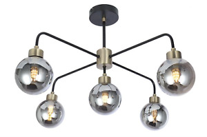 Globe Metal ceiling Light Fitting 5 Way Industrial Design Black/Antique Brass