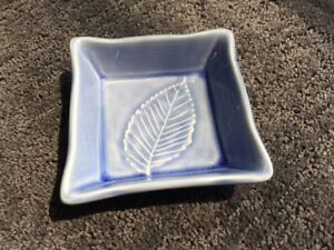Crate and Barrel,  Square bowl, blue, leaf impression