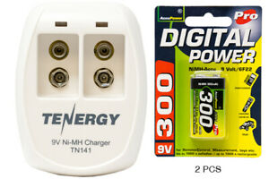 2 Bay 9V Smart Battery Charger + 2-Pack 9 Volt AccuPower NiMH Batteries 300 mAh