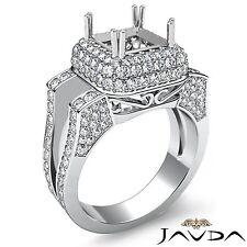 3 Row Halo Diamond Engagement Ring Princess Cut 1.75Ct Semi Mount 18k White Gold